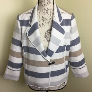 Chicos Size 0/small/4 Blue Stripped Jacket Blazer